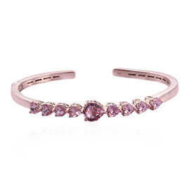 J Francis - Crystal from Swarovski Light Rose Crystal (Hrt) Cuff Bangle (Size 7.5) in Rose Gold Overlay Sterling Silver, Silver wt 10.50 Gms.