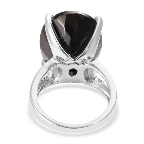 Elite Shungite (Ovl 20x15 mm) Solitaire Ring in Platinum Overlay Sterling Silver 11.75 Ct, Silver wt 5.40 Gms
