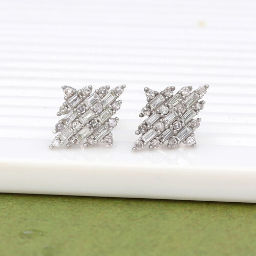 9K White Gold SGL Certified Diamond (I3/G-H) Earrings (with Push Back) 0.50 Ct.