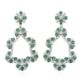 AA Kagem Zambian Emerald (Pear), Natural Cambodian Zircon Flower Dangle Earrings (with Push Back) in Platinum Overlay Sterling Silver 10.000 Ct. Silver wt 18.32 Gms.