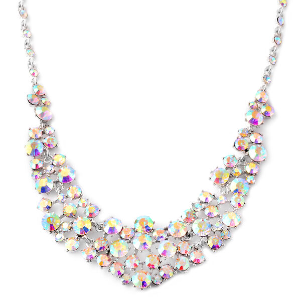 Simulated White AB Stone (Mrq) Necklace (Size 20 with 3 inch Extender)