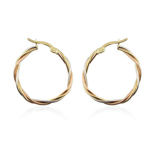 Limited Edition - Vicenza Close Out 9K Yellow, Rose, White Gold Twisted Hoop Earrings (with Clasp) 1.98 Grams