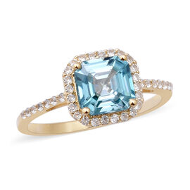 9K Yellow Gold Ratanakiri Blue Zircon and Natural Cambodian Zircon Ring 3.00 Ct.