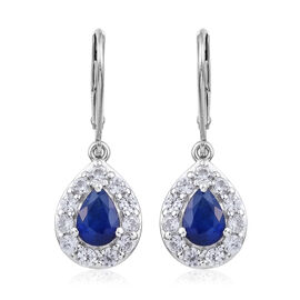 3 Carat Blue Spinel and Cambodian Zircon Drop Halo Earrings in Sterling Silver With Lever Back