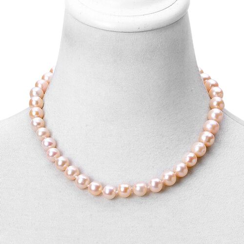 ILIANA 18K Yellow Gold Fresh Water Peach Pearl (Rnd 11-12 mm) Ball Beads Necklace (Size 18)