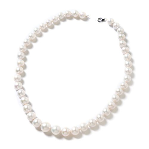 RHAPSODY 950 Platinum AAAA White Edison Pearl Graduated (14 to 9 mm) Necklace (Size 20)