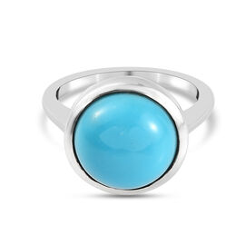 Arizona Sleeping Beauty Turquoise Solitaire Ring in Platinum Overlay Sterling Silver 4.70 Ct.
