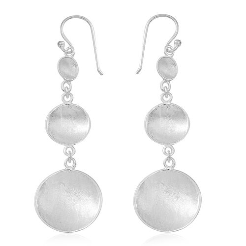 Vicenza Collection Designer Inspired Sterling Silver Hook Earrings, Silver wt 5.04 Gms.