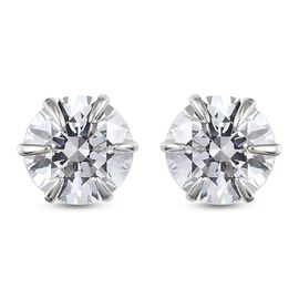J Francis 9K White Gold Earrings (with Push Back) Made with SWAROVSKI ZIRCONIA 5.44 Ct