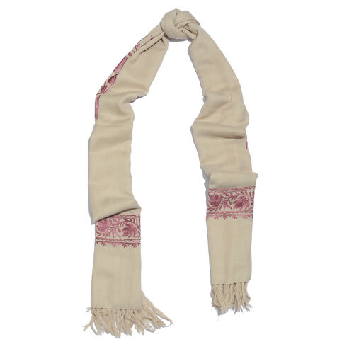 100% Merino Wool Beige and Pink Colour Floral Embroidered Scarf with Tassels (Size 180X70 Cm)