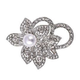Simulated Pearl and White Austrian Crystal Floral Brooch