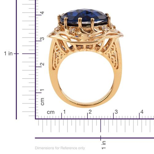 Ceylon Colour Quartz (Rnd 15.75 Ct), Natural Cambodian Zircon Ring in 14K Gold Overlay Sterling Silver 16.000 Ct. Silver wt 8.00 Gms.