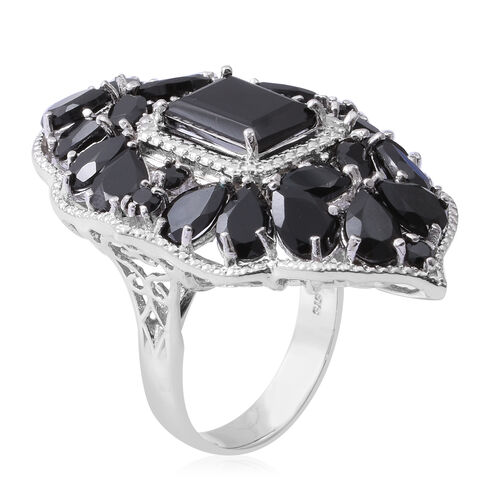 Red Carpet Collection-Boi Ploi Black Spinel (Oct) Ring in Rhodium Overlay Sterling Silver 23.630 Ct, Silver wt 13.49 Gms.