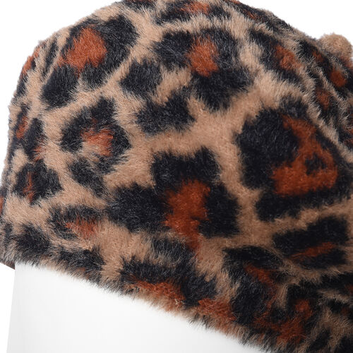 Super Soft Chic Leopard Beret - Brown