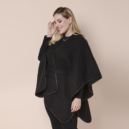 LA MAREY Black Plaid Pattern Kimono with Belt (105x83cm)
