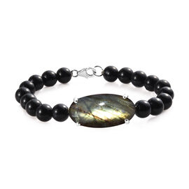 97.50 Ct Labradorite and Black Agate Beaded Bracelet in Silver 7.5 Inch
