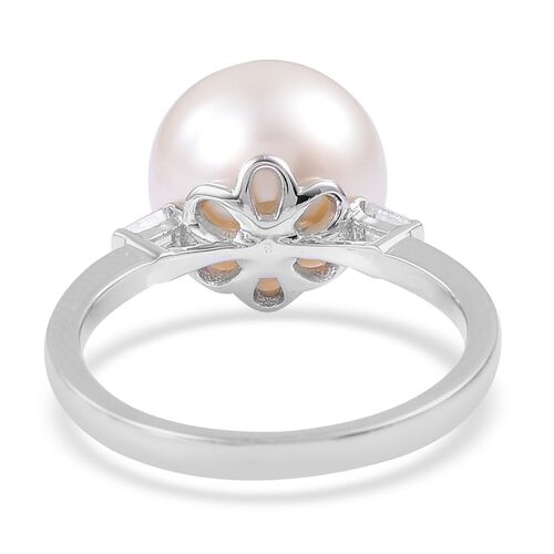 Collectors Edition- ILIANA 18K White Gold Very Rare AAAA South Sea White Pearl (Rnd 10-11mm), Diamond (SI/G-H) Ring