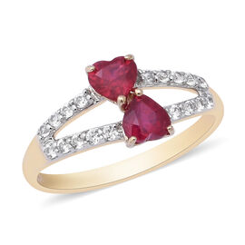 9K Yellow Gold AAA African Ruby (Hrt), Natural White Cambodian Zircon Double Heart Split Shank Ring
