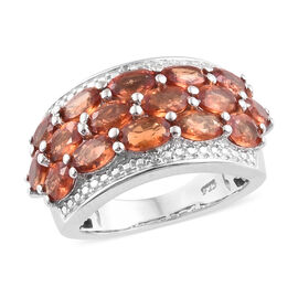 4.5 Ct Sunset Sapphire and Diamond Cluster Ring in Platinum Plated Sterling Silver 6.81 Grams