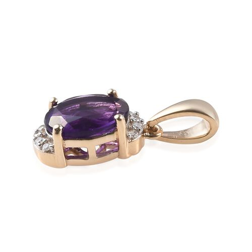 9K Yellow Gold AAA Amethyst (Ovl 8x6mm), Diamond (I3/G-H) Pendant