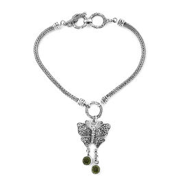 Royal Bali Collection Hebei Peridot (Rnd) Butterfly Charm Bracelet (Size 7.5 - 8) in Sterling Silver