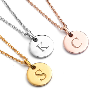Personalised Initial Engraved 12MM Disc Pendant with Chain in Silver