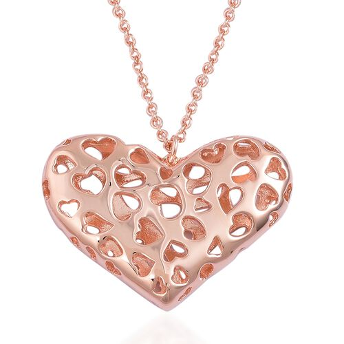 RACHEL GALLEY Rose Gold Overlay Sterling Silver Lattice Heart Pendant With Chain (Size 30), Silver w