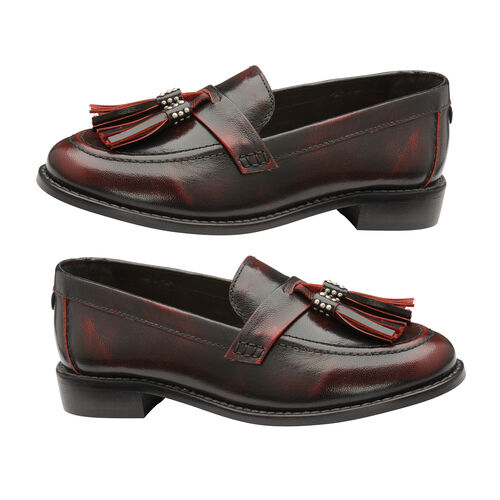 Ravel Bordo Levin Patent Leather Low Heel Loafers (Size 3)