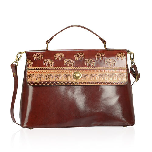 100% Genuine Leather Dark Choclate Colour Hand Printed Enchanting Elephant Pattern Satchel Bag With