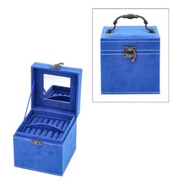 3 Layer Velvet Jewellery Box with Inside Mirror and Vintage Handle (Size 12x12x12 Cm) - Blue