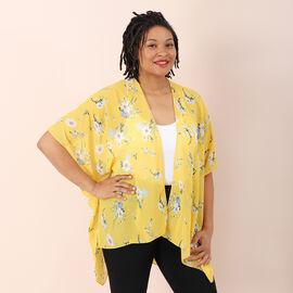 Jovie Flower Printed Kimono (Size 72x86cm) - Yellow