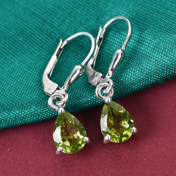 Hebei Peridot (Pear) Lever Back Earrings in Platinum Overlay Sterling Silver 2.36 Ct.