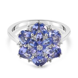 Tanzanite and Natural Cambodian Zircon Floral Cluster Ring in Platinum Overlay Sterling Silver 1.47