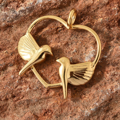 14K Gold Overlay Sterling Silver Love Birds in Heart Pendant, Silver wt 4.60 Gms.