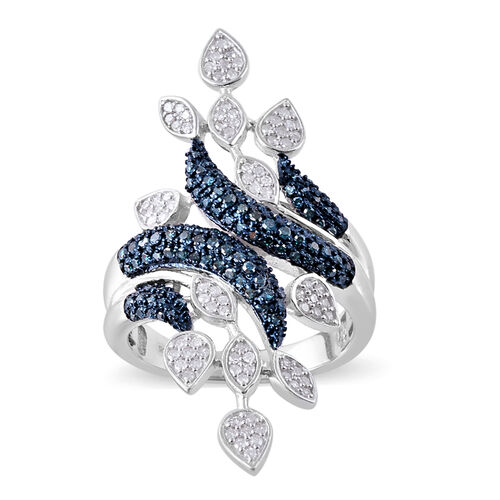 1 Carat Blue and White Diamond Leaves Crossover Ring in Platinum Plated Silver 8.20 Grams
