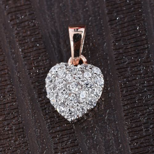 J Francis - Rose Gold Overlay Sterling Silver (Rnd) Pendant Made with SWAROVSKI ZIRCONIA 0.336 Ct.