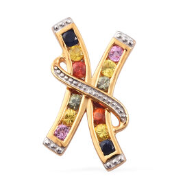 Orange, Pink and Multi Sapphire Pendant in 14K Gold Overlay Sterling Silver 1.11 Ct.