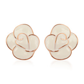Enamelled Flower Stud Earrings in Gold Tone