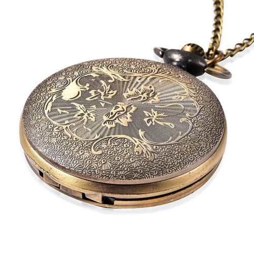 Set of 2 - STRADA Japanese Movement Rose Pattern Pocket Watch with Chain (Size 31) in Antique Bronze Plated