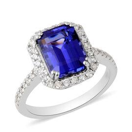 RHAPSODY 950 Platinum AAAA Tanzanite and Diamond (VS/E-F) Ring 5.15 Ct, Platinum wt. 7.08 Gms