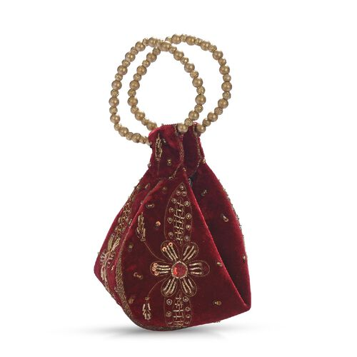 Weaved Embellishment Velvet Fortune Cookie bag (Size 16.51x24.13 Cm) - Royal Wine Red