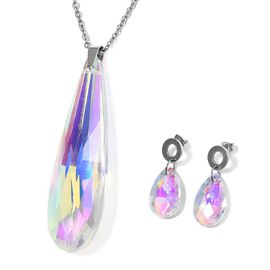 2 Piece Set Simulated Mercury Topaz Drop Pendant with Chain and Earrings 20 Inch