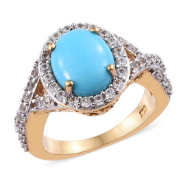 3.5 Ct Sleeping Beauty Turquoise and Cambodian Zircon Halo Ring in Gold Plated Sterling Silver