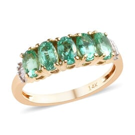 1.15 Ct AA Boyaca Colombian Emerald and Diamond 5 Stone Ring in 14K Yellow Gold 2.46 grams