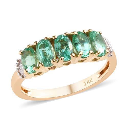 1.15 Ct AA Boyaca Colombian Emerald and Diamond 5 Stone Ring in 14K Yellow Gold 2.46 grams