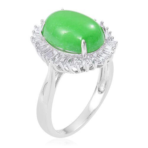 Designer Inspired-Green Jade (Ovl 6.75 Ct), White Topaz BALLERINA Ring in Rhodium Plated Sterling Silver 7.830 Ct. Silver wt. 3.32 Gms.
