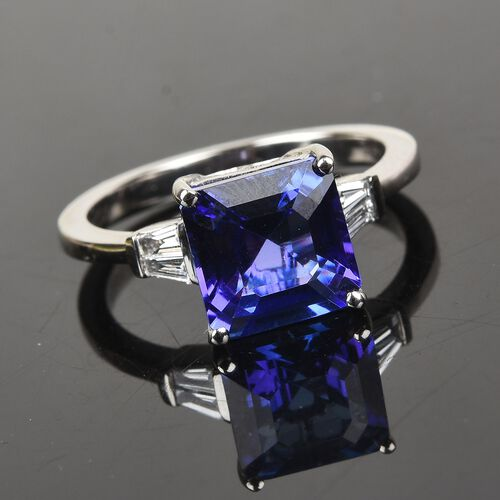 Monster Deal- RHAPSODY 950 Platinum AAAA Tanzanite and Diamond (VS/E-F) Ring 3.00 Ct, Platinum wt. 4.50 Gms