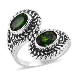 1.71 Ct Russian Diopside Bypass Ring in Sterling Silver 5.99 Grams