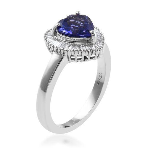 RHAPSODY 950 Platinum AAAA Tanzanite (Hrt), Diamond (VS/E-F) Ring 1.75 Ct, Platinum wt 7.00 Gms