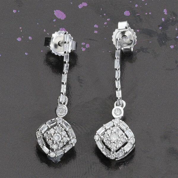 9K White Gold SGL Certified Diamond (I3/G-H) Lever Back Drop Earring 0.33 Ct.